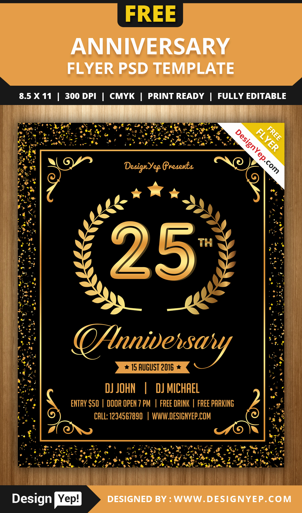 Free Download Flyer Template Best Of Free Anniversary Party Flyer Psd Template Designyep