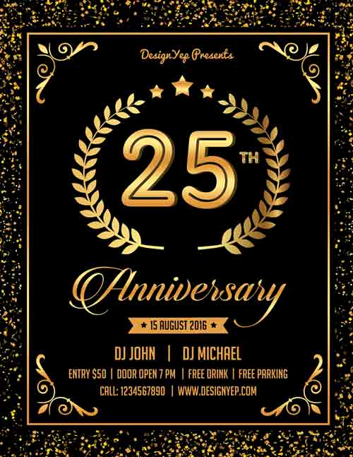 Free Download Flyer Template Luxury Free Anniversary Party Flyer Psd Template Download for