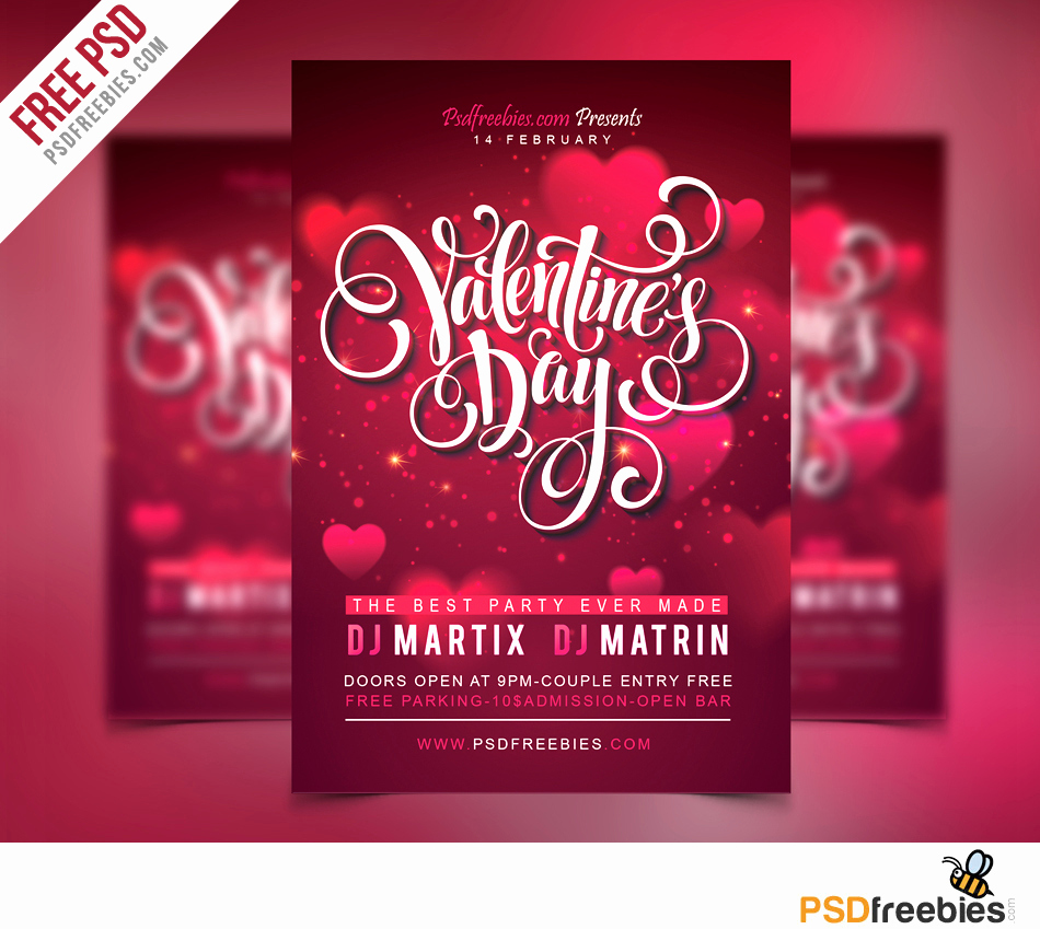 Free Download Flyer Template Luxury Free Valentines Party Flyer Psd Template