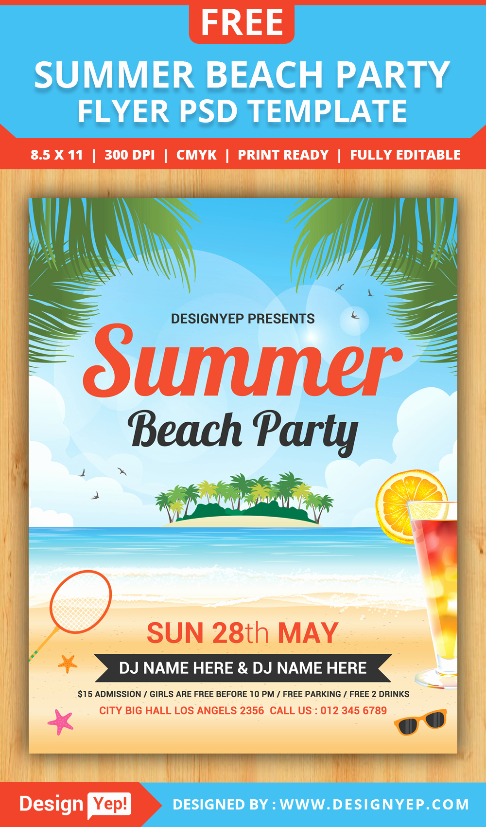 Free Download Flyer Template New Free Summer Beach Party Flyer Psd Template Designyep
