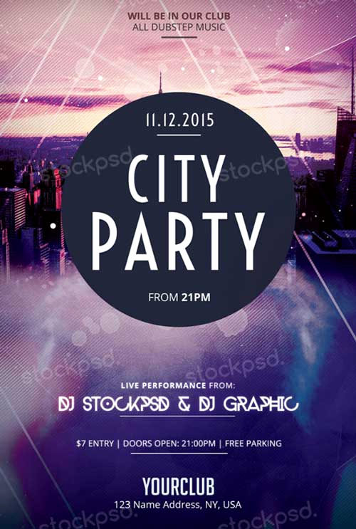 Free Download Flyer Templates Awesome Download City Party Free Psd Flyer Template for Shop