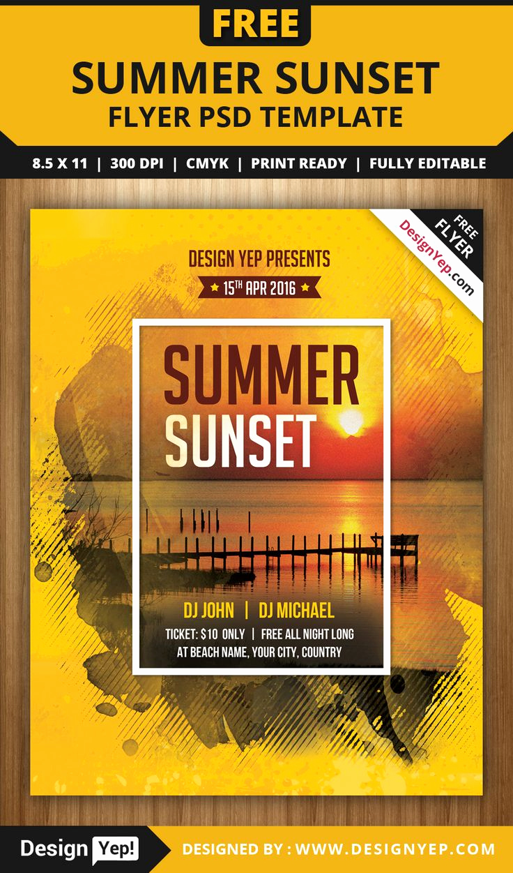 Free Download Flyer Templates Luxury Free Summer Sunset Beach Party Flyer Psd Template