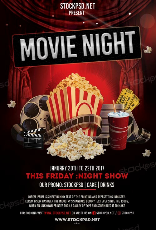 Free Download Flyer Templates New Movie Night Free Flyer Template Download Flyer Templates