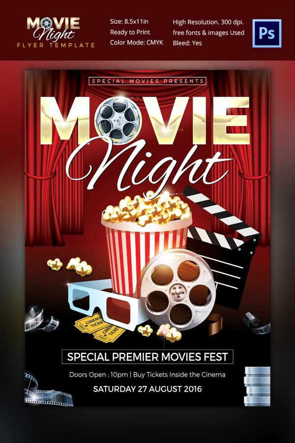 Free Downloadable Flyer Templates New Movie Night Flyer Template 25 Free Jpg Psd format