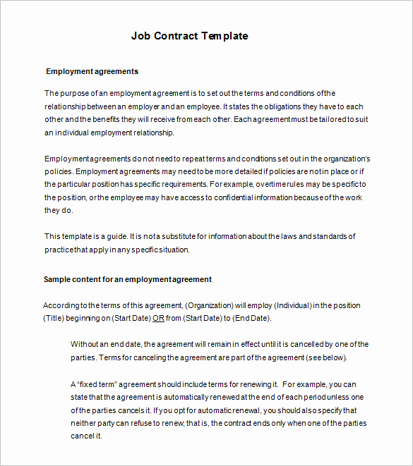 Free Employment Contract Templates Beautiful 18 Job Contract Templates Word Pages Docs