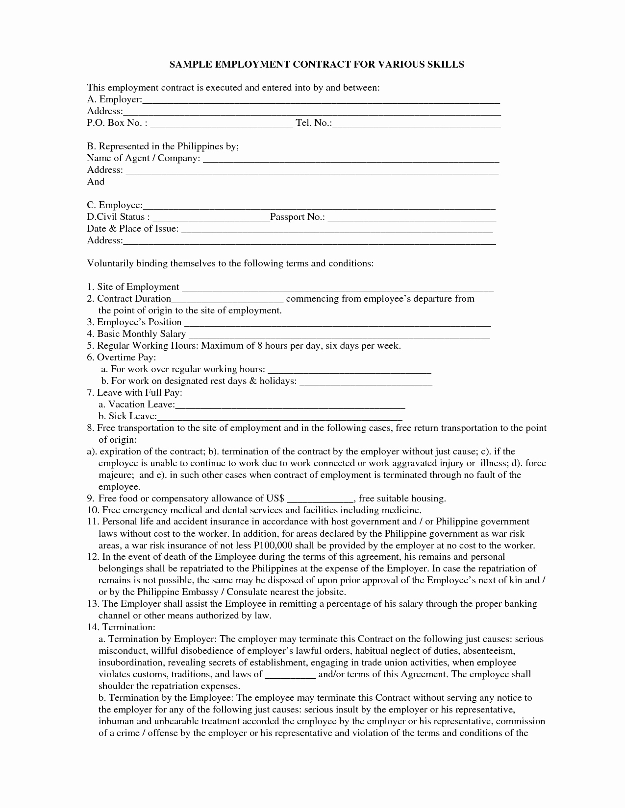 Free Employment Contract Templates Beautiful Employment Contract Sample Images Employment Contract