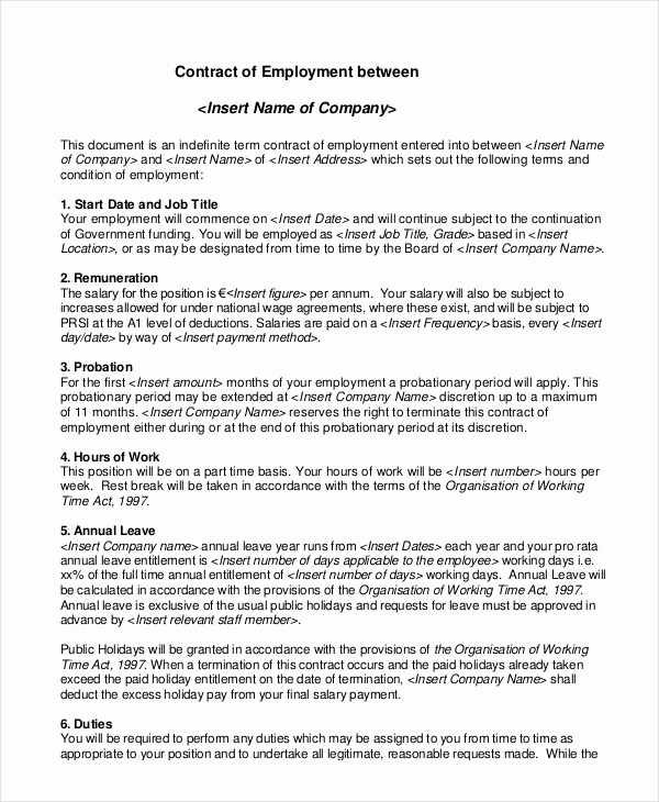 Free Employment Contract Templates Beautiful Employment Contract Template 21 Sample Word Apple