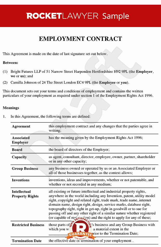 Free Employment Contract Templates Beautiful Senior Employment Contract Executive Employment Agreement