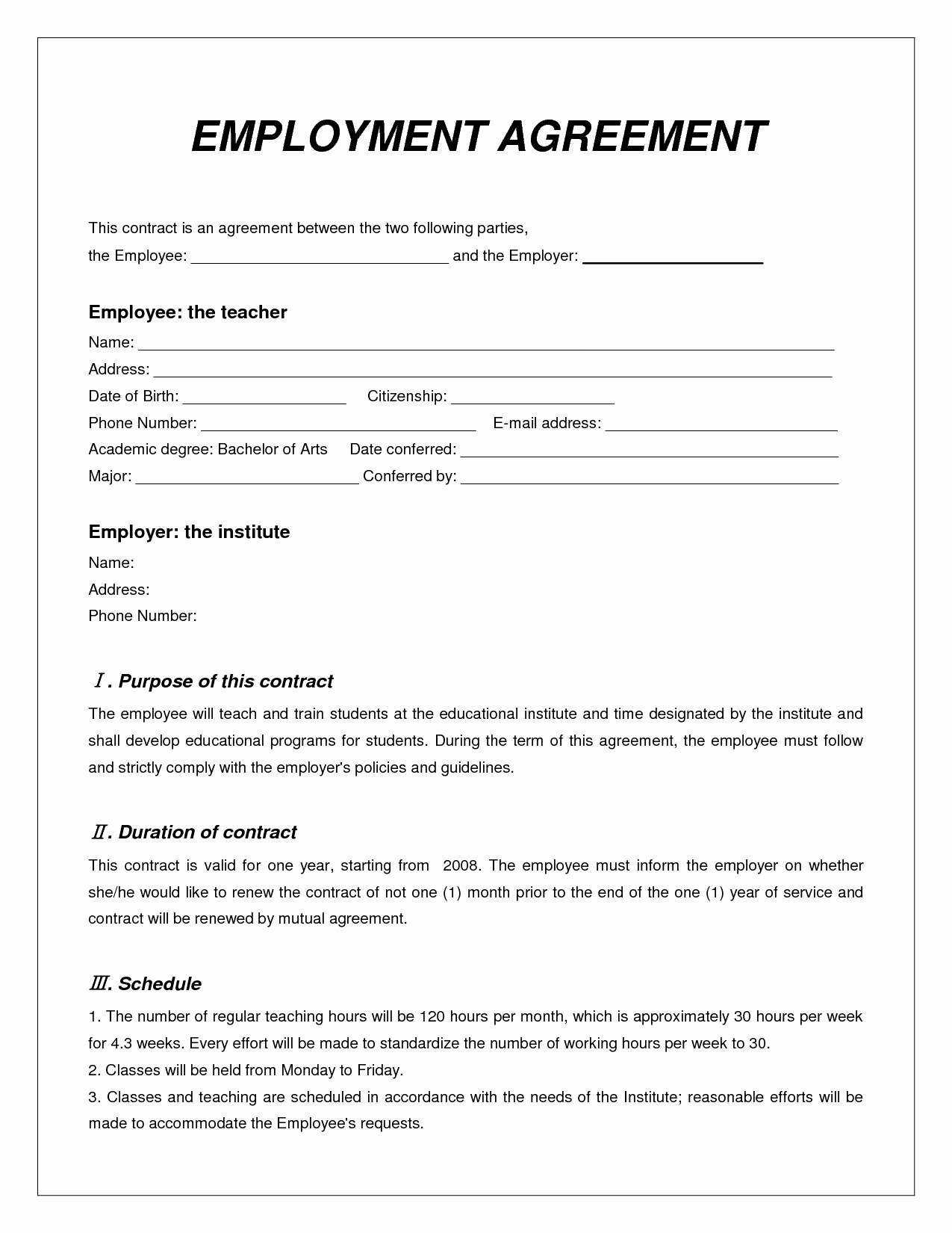 Free Employment Contract Templates Best Of Contract Employee Agreement Sample Templates Resume