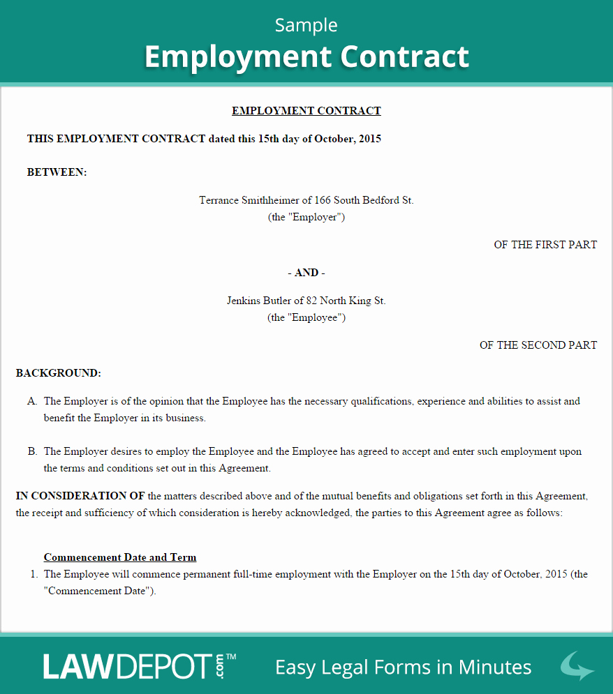 Free Employment Contract Templates Best Of Free Employment Contract Create Download and Print