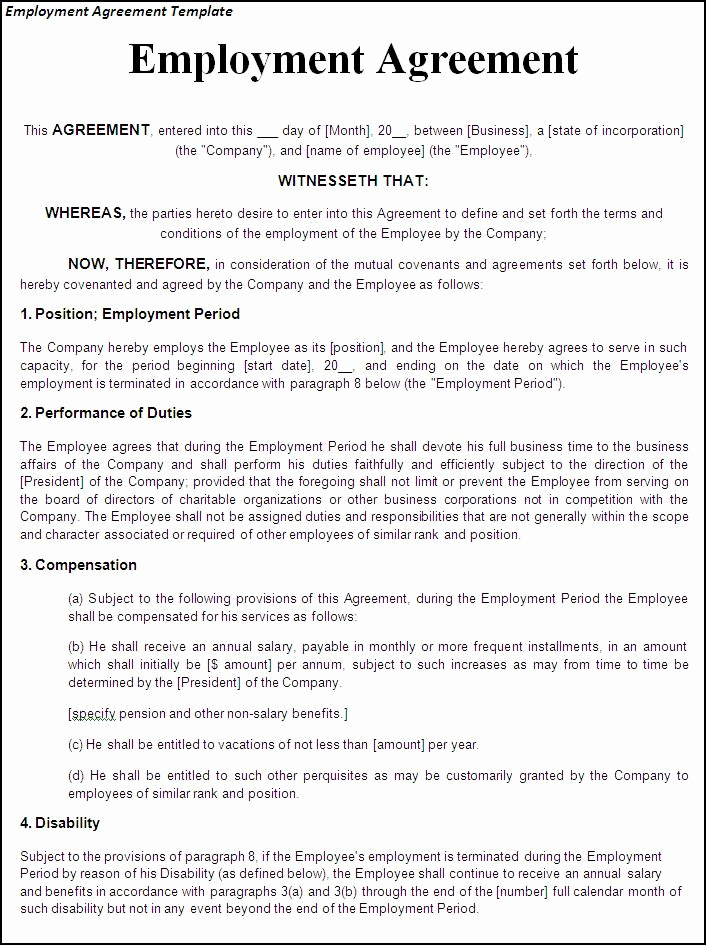 Free Employment Contract Templates Elegant Printable Sample Employment Contract Sample form