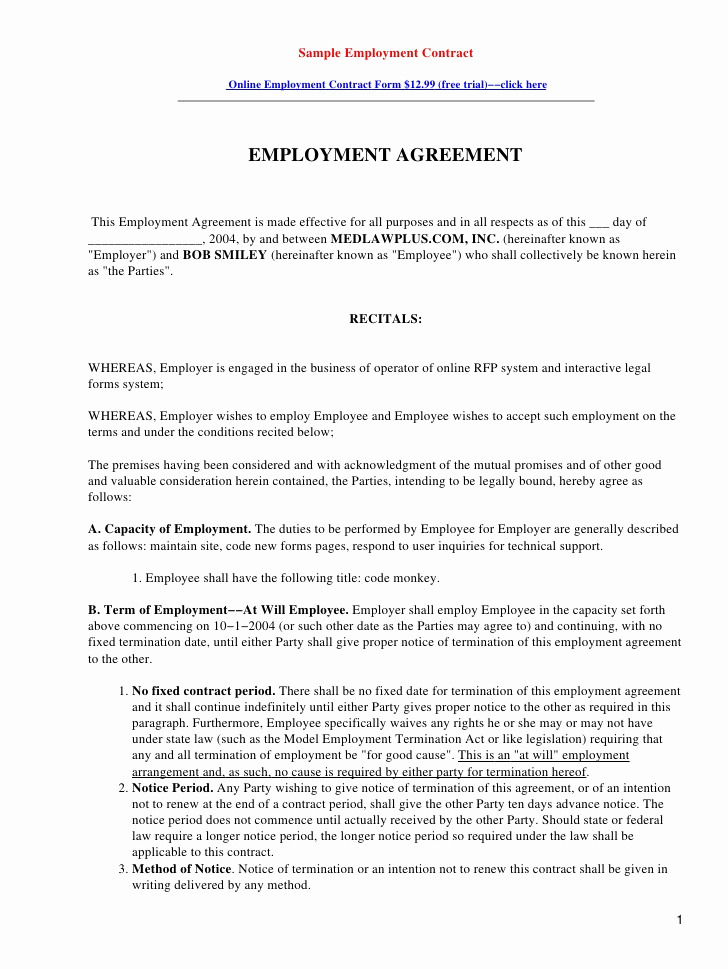 Free Employment Contract Templates Fresh Restaurant Employee Contract Template Free software and