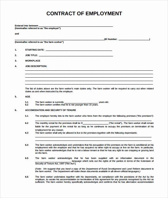 Free Employment Contract Templates Inspirational Download Employment Contract Template Free Barterrevizion