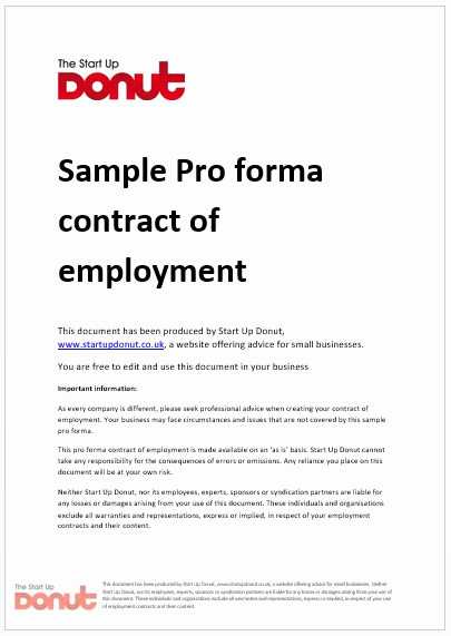 Free Employment Contract Templates Inspirational Free Printable Employment Contract Sample form Generic