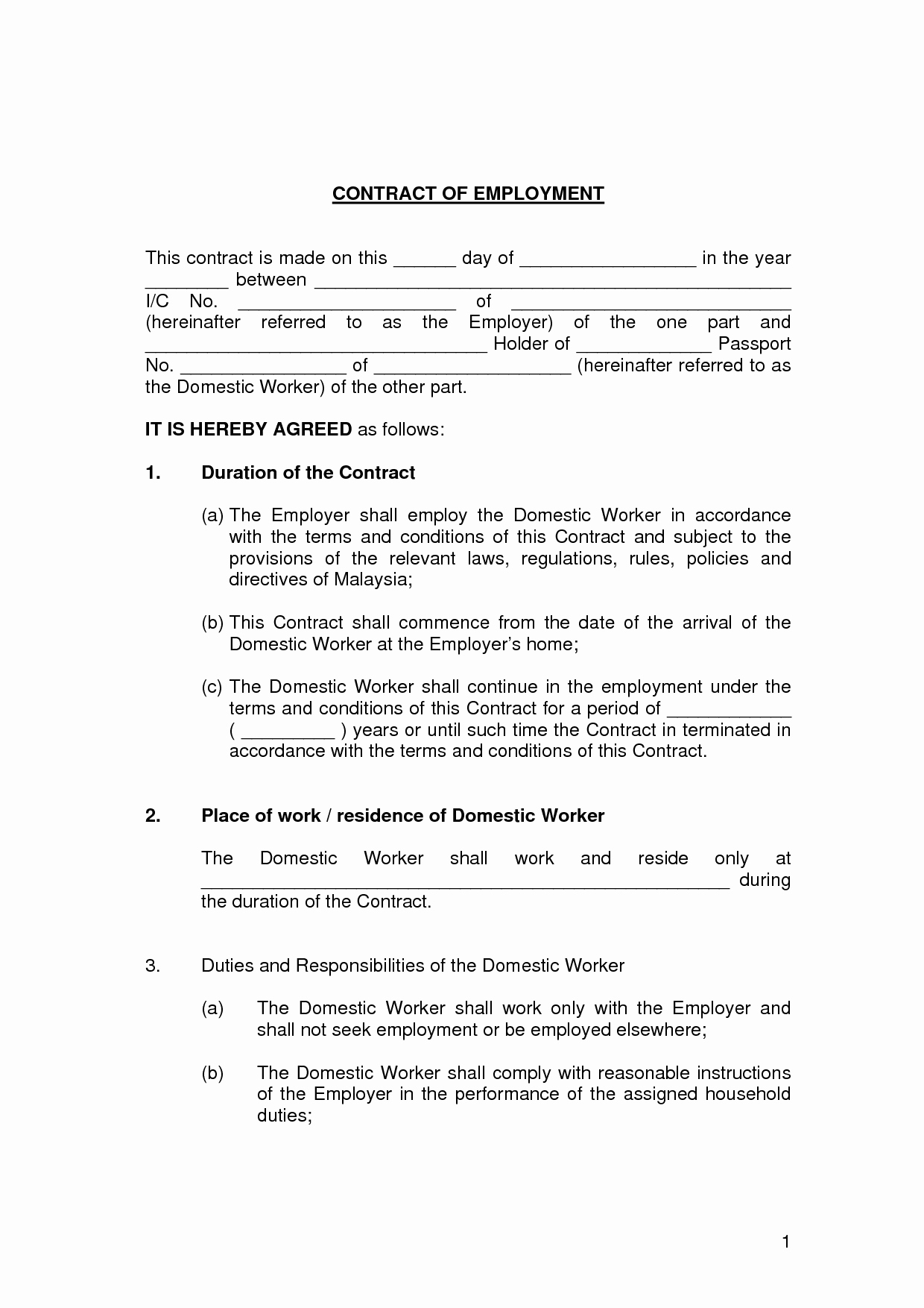 Free Employment Contract Templates Inspirational Printable Sample Employment Contract Sample form