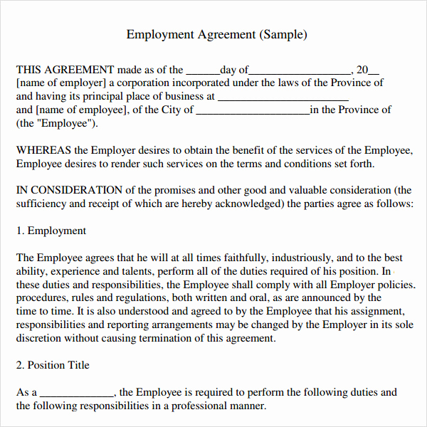 Free Employment Contract Templates Lovely Sample Employment Agreement 8 Free Documents Download