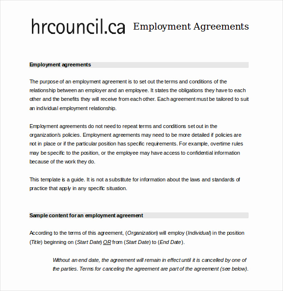 Free Employment Contract Templates Luxury 21 Employee Agreement Templates – Word Pdf Apple Pages