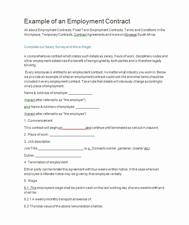 Free Employment Contract Templates Luxury 40 Great Contract Templates Employment Construction