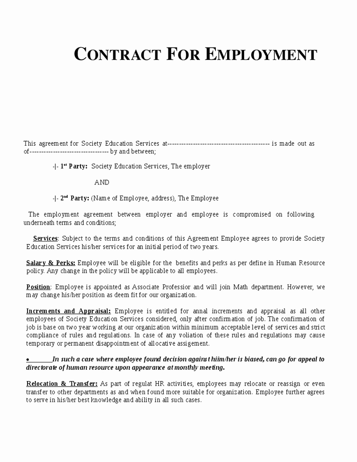 Free Employment Contract Templates Luxury Employment Contract Template