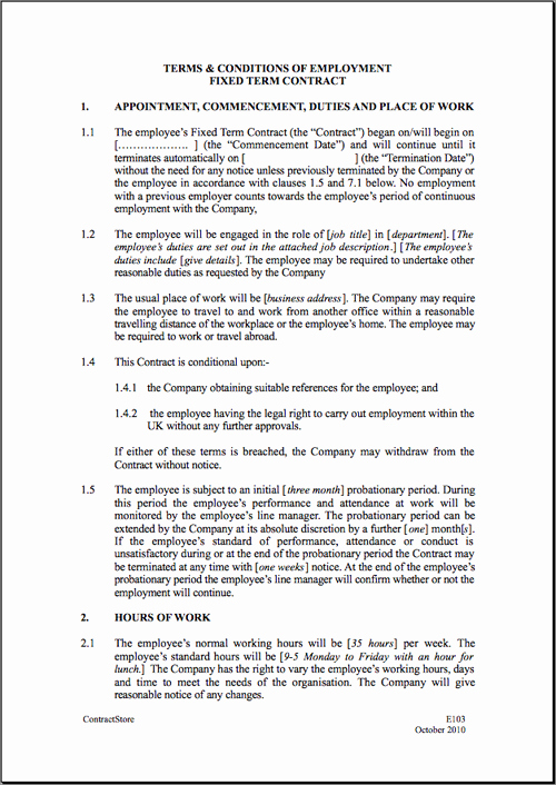 Free Employment Contract Templates Luxury Fixed Short Term Employment Contract Template