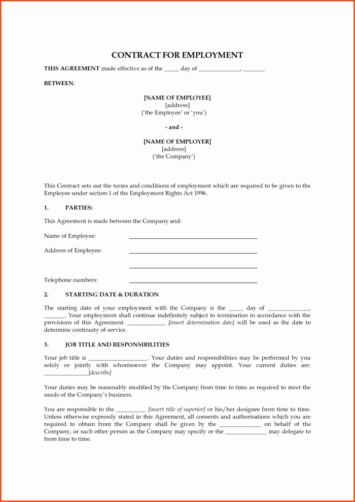 Free Employment Contract Templates New 1099 Employee Contract form Templates Resume Examples