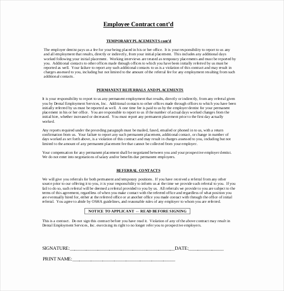 Free Employment Contract Templates New 29 Employment Agreement Templates – Free Word Pdf format