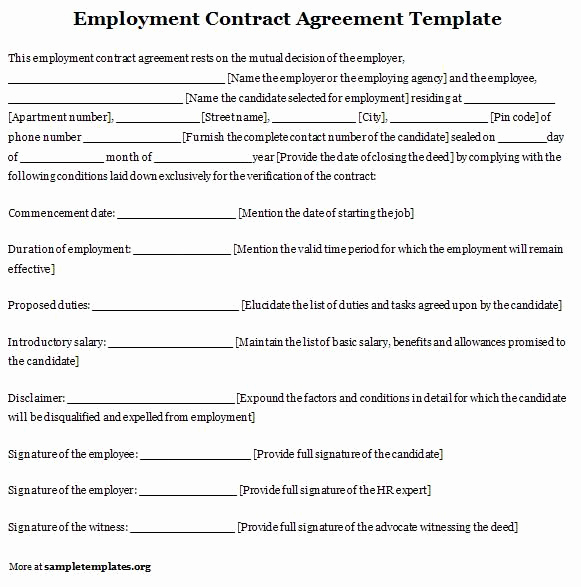 Free Employment Contract Templates New Printable Sample Employment Contract Sample form