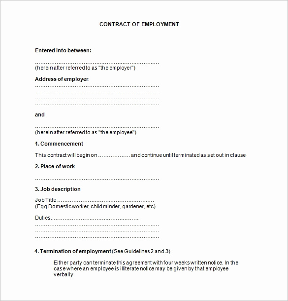 Free Employment Contract Templates Unique 18 Job Contract Templates Word Pages Docs