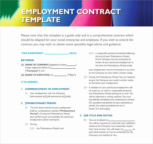 Free Employment Contract Templates Unique 20 Sample Employment Contract Templates Docs Word