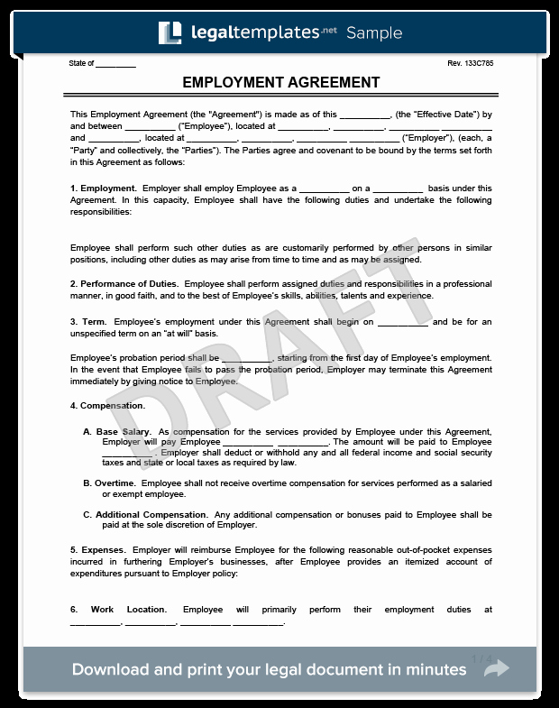Free Employment Contract Templates Unique Create An Employment Contract In Minutes