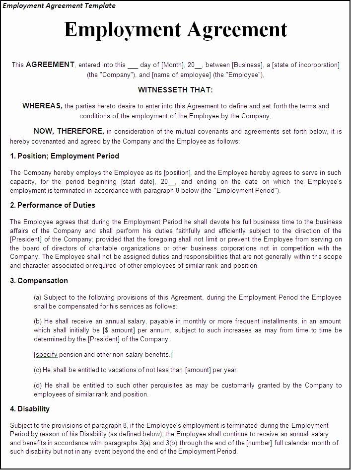 Free Employment Contract Templates Unique Printable Sample Employment Contract Sample form