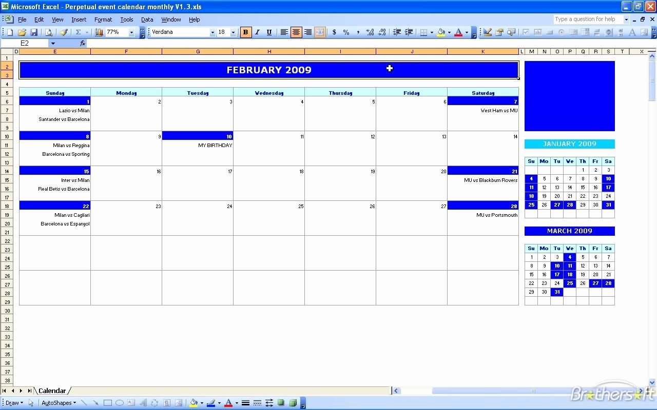 Free event Calendar Template Awesome event Calendar Excel Template