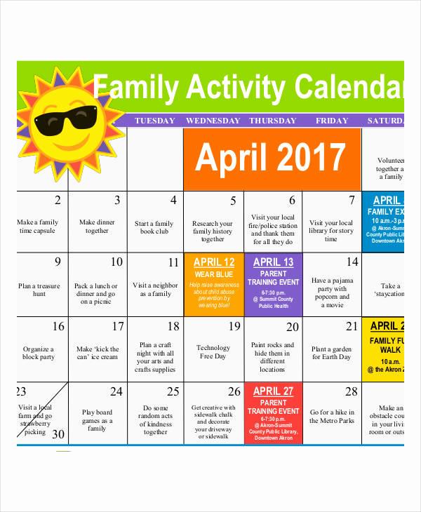 Free event Calendar Template Beautiful Activity Calendar Templates 9 Free Pdf format Download