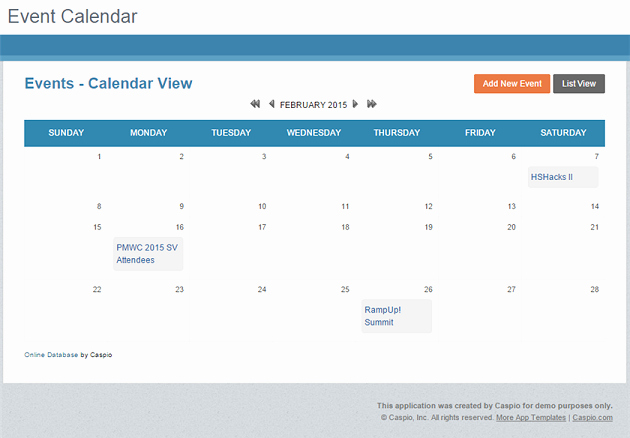 Free event Calendar Template Beautiful Free App Line event Calendar for Any Website Caspio Blog