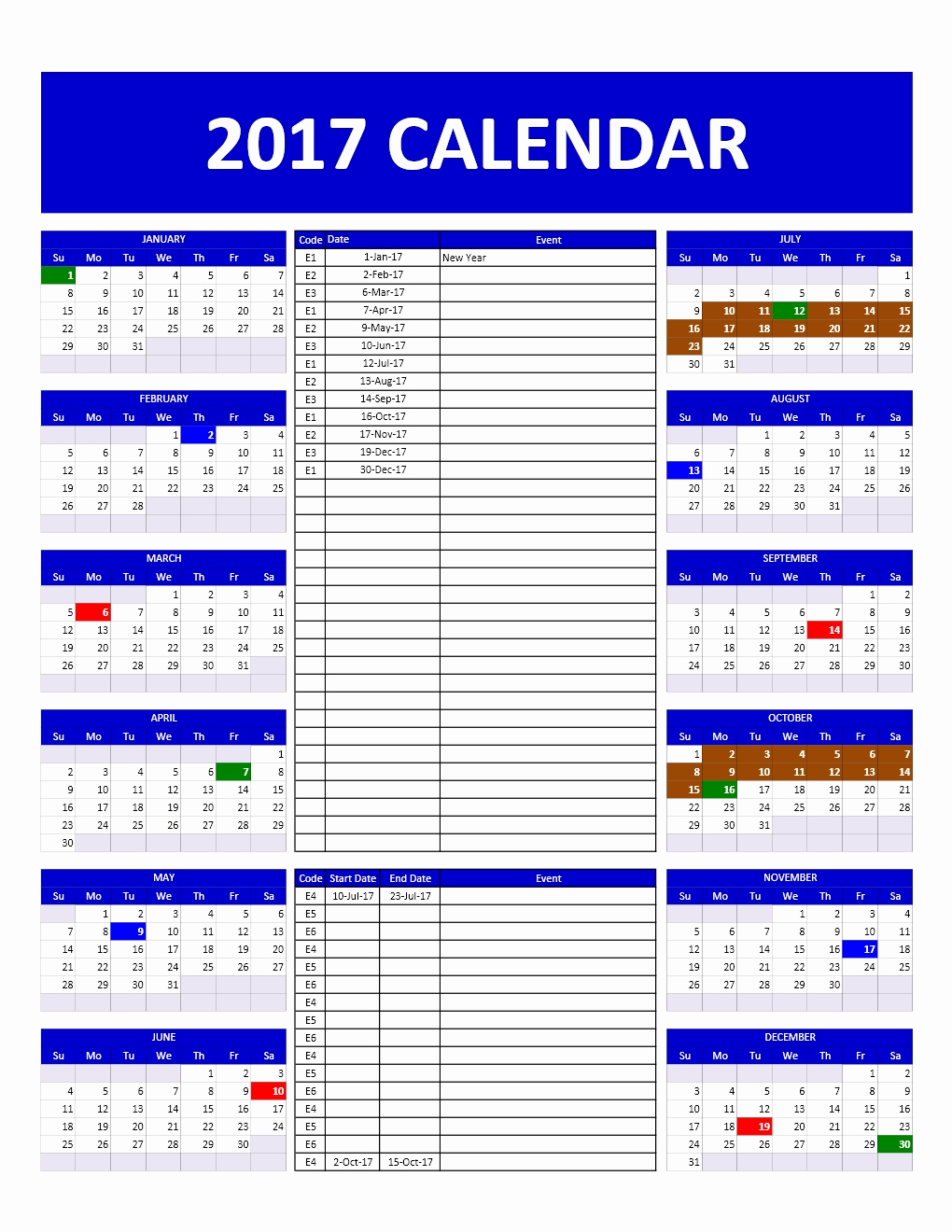 Free event Calendar Template Best Of 2017 and 2018 Calendars