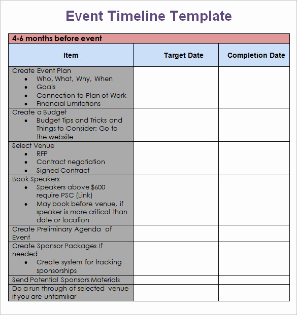 Free event Calendar Template Elegant event Timeline Template Excel