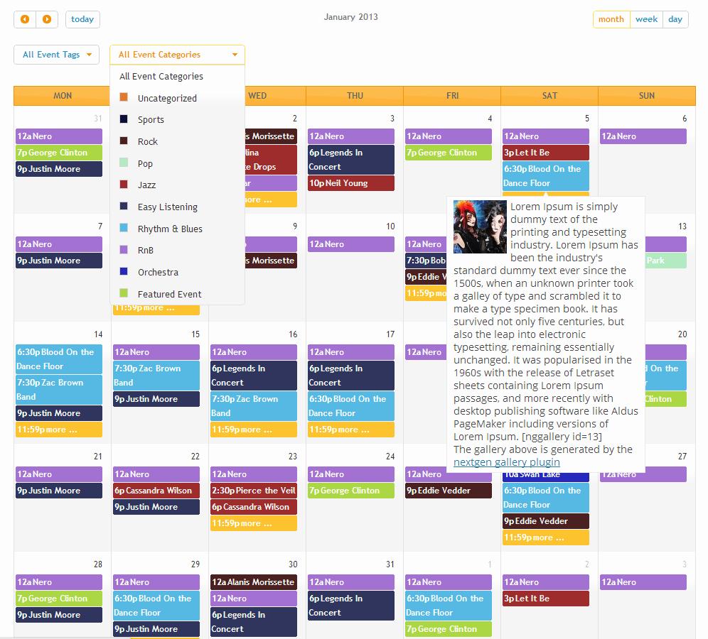 Free event Calendar Template Inspirational events Manager for Wordpress event Registration