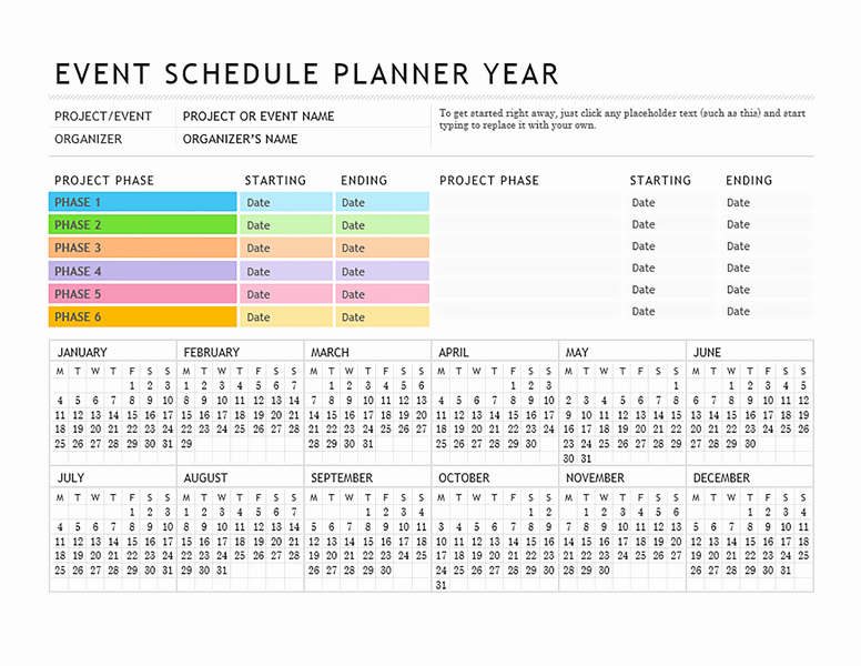 Free event Calendar Template Luxury event Planner Annual Planner Pinterest