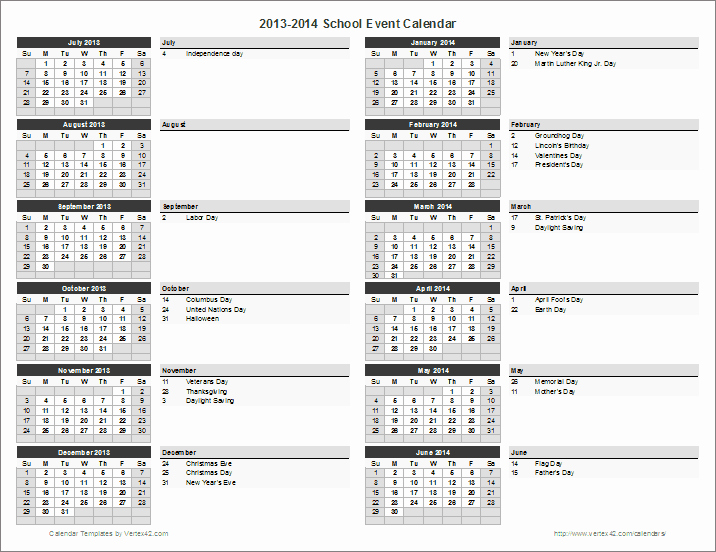 Free event Calendar Template New School Calendar Template 2019 2020 School Year Calendar