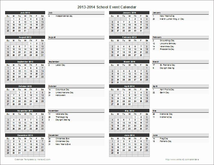 Free event Calendar Template New School Calendar Template 2019 2020 School Year Calendar