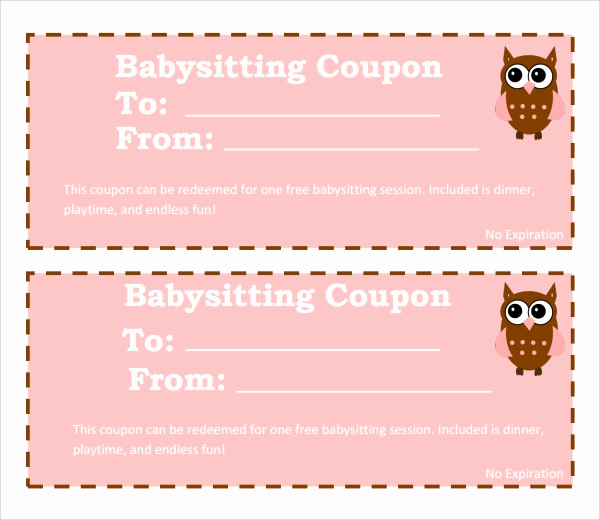 Free Printable Coupon Template Blank Awesome 6 Babysitting Coupon Templates