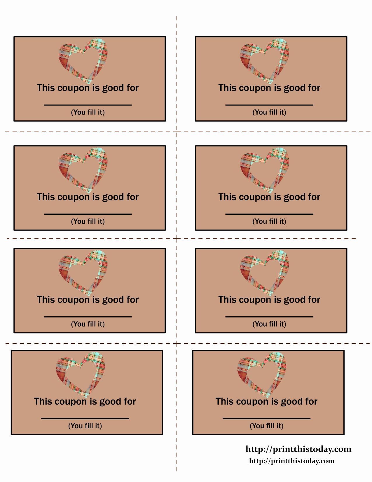 Free Printable Coupon Template Blank Awesome Printable Love Coupons