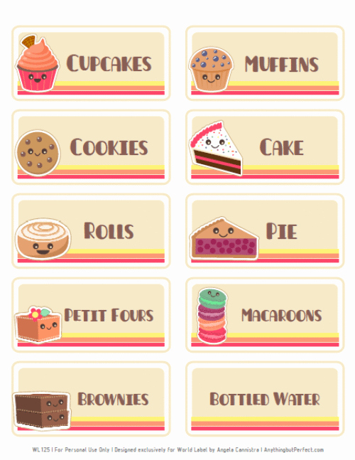 Free Printable Price Tags Template Unique Bake Sale Printable Labels Set