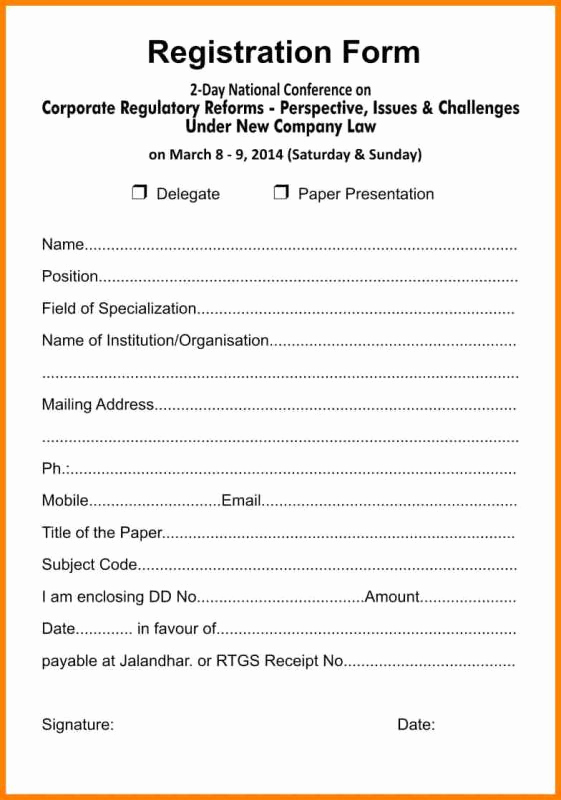 Free Registration forms Template Awesome Registration form Template