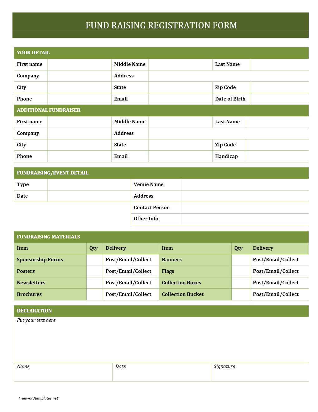 Free Registration forms Template Beautiful Fundraising Registration form