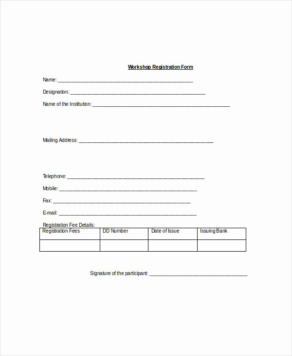 Free Registration forms Template Beautiful Registration form Template 9 Free Pdf Word Documents