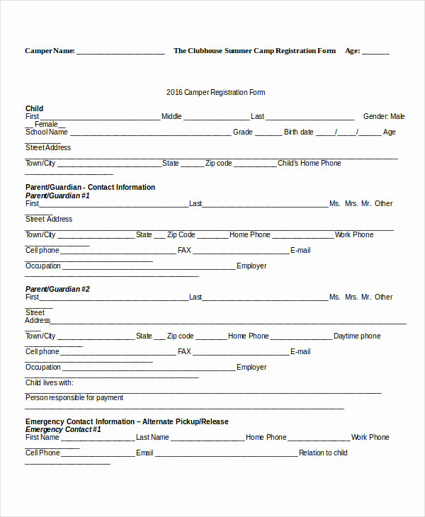 Free Registration forms Template Fresh Registration form Template 9 Free Pdf Word Documents