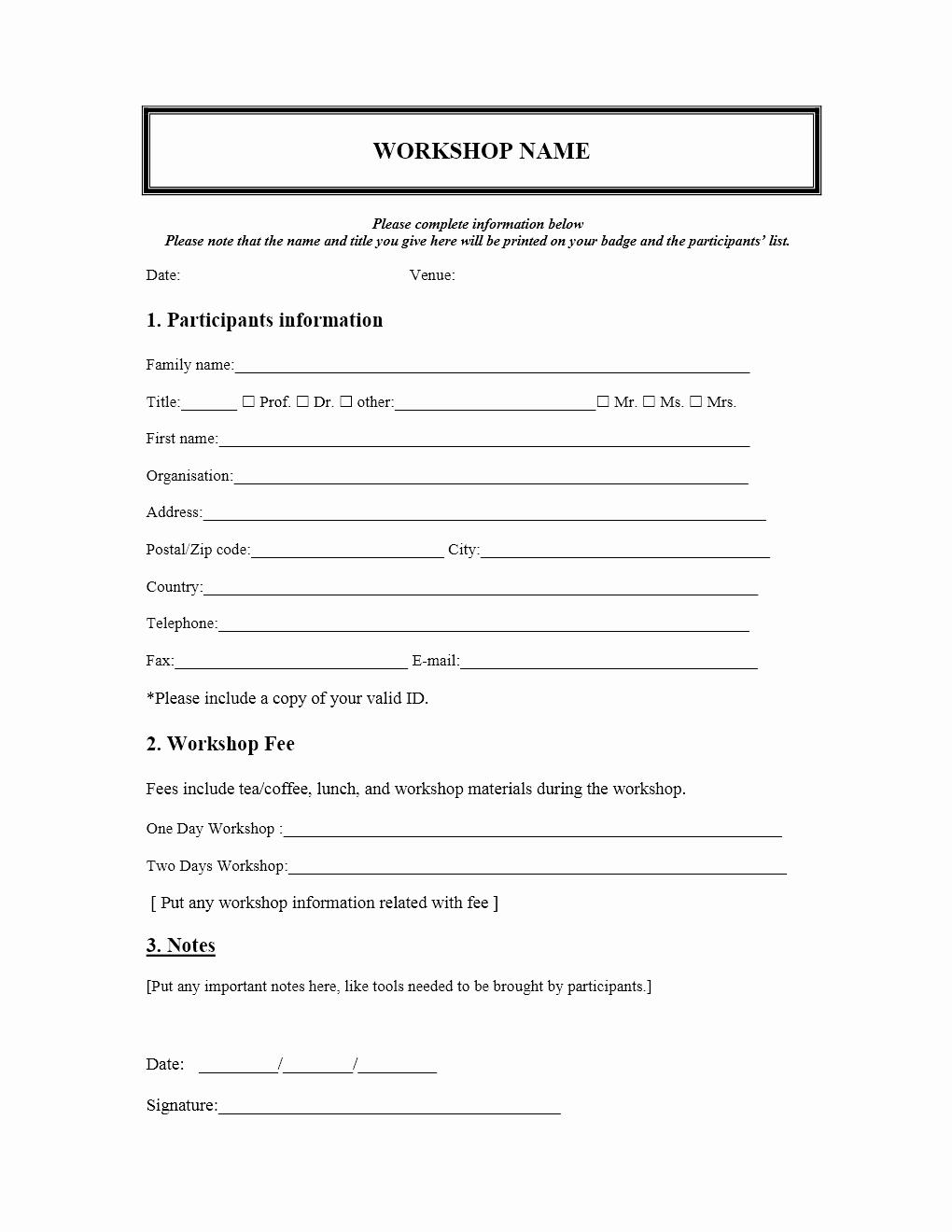 Free Registration forms Template Fresh Workshop Registration form