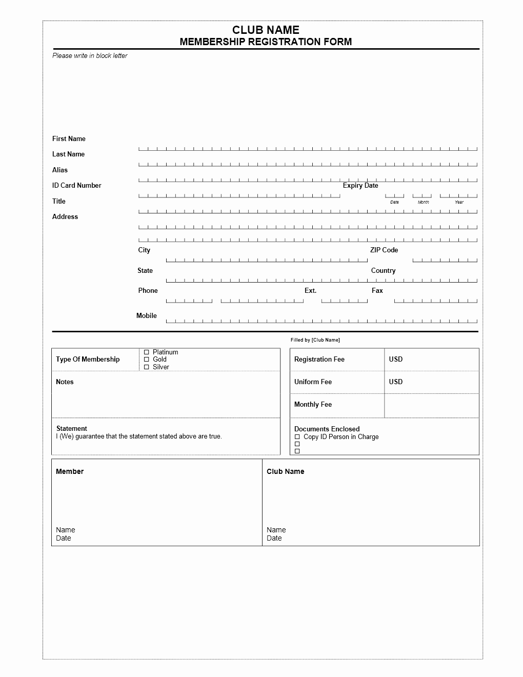 Free Registration forms Template Inspirational Club Membership Application form