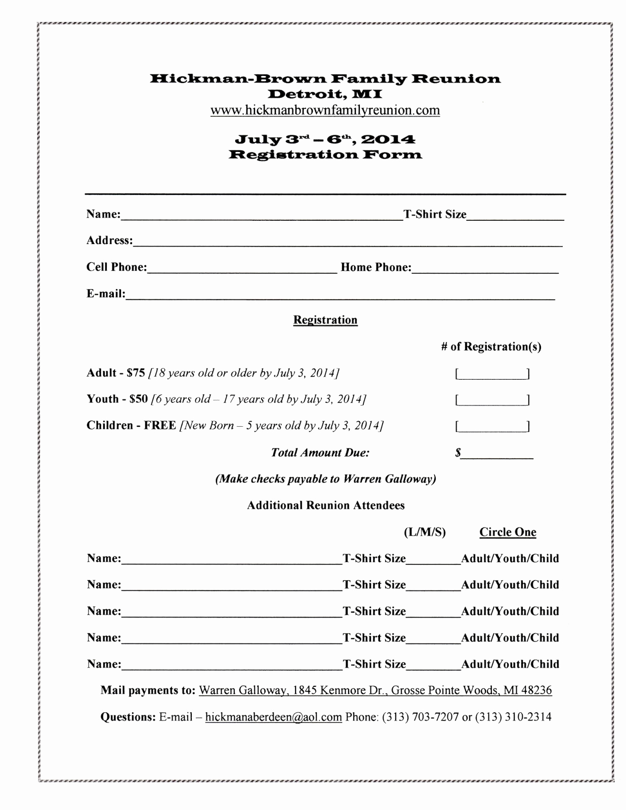 Free Registration forms Template Luxury 7 Best Of Family Reunion forms Printable Free